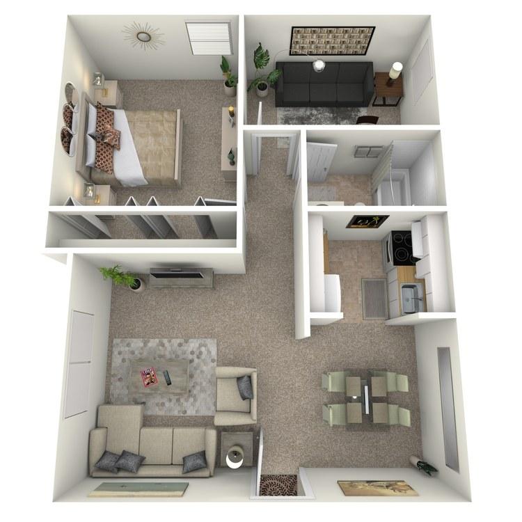 Floor plan image of 1 Bed 1 Bath with Den