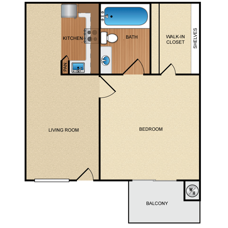 Floor plan image of 1 Bed 1 Bath Up