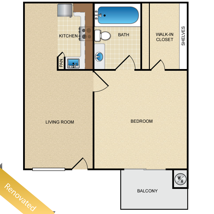 Floor plan image of 1 Bed 1 Bath Up Renovated