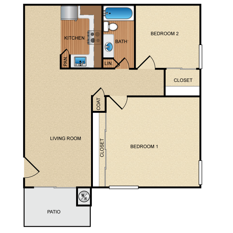 Floor plan image of 2 Bed 1 Bath Up