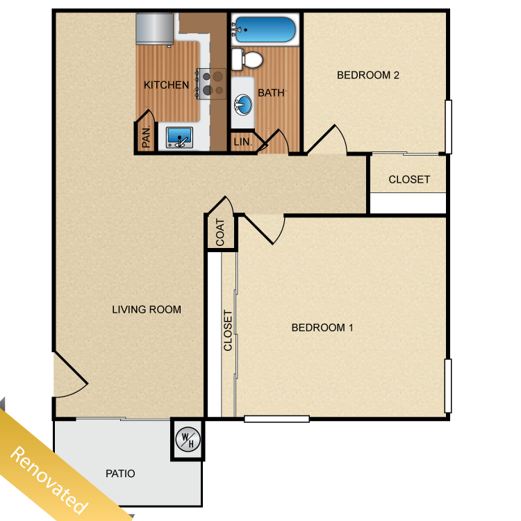 Floor plan image of 2 Bed 1 Bath Up Renovated