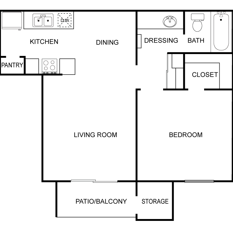 Floor plan image of Large 1 Bed 1 Bath