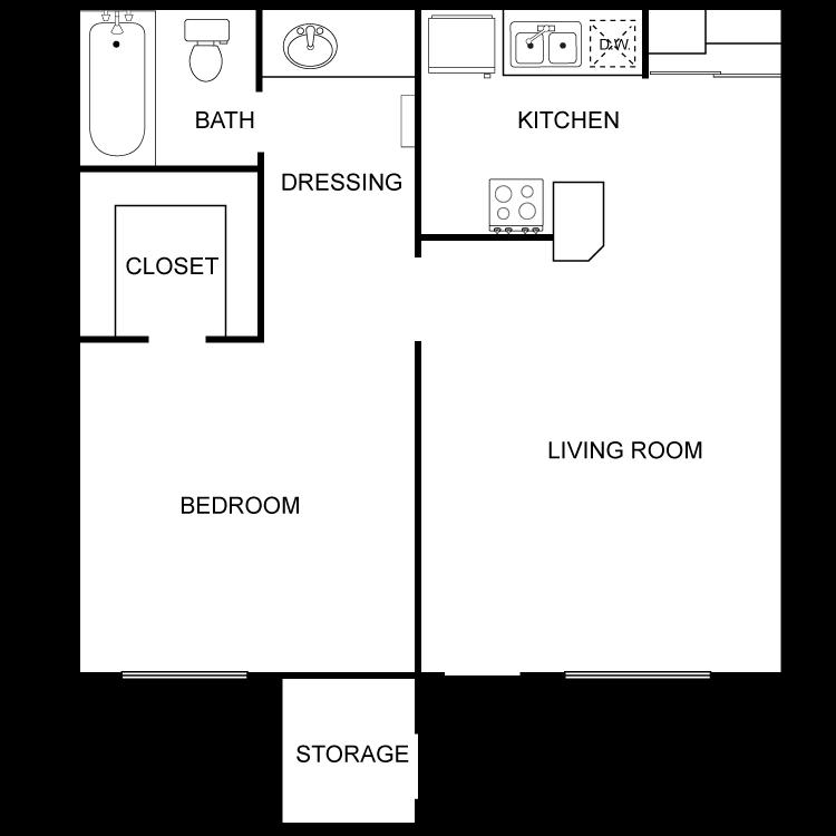 Floor plan image of Medium 1 Bed 1 Bath