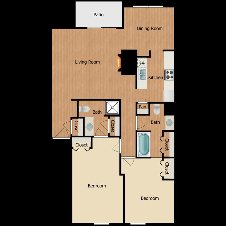 Floor plan image of 2 Bedroom 3rd Floor