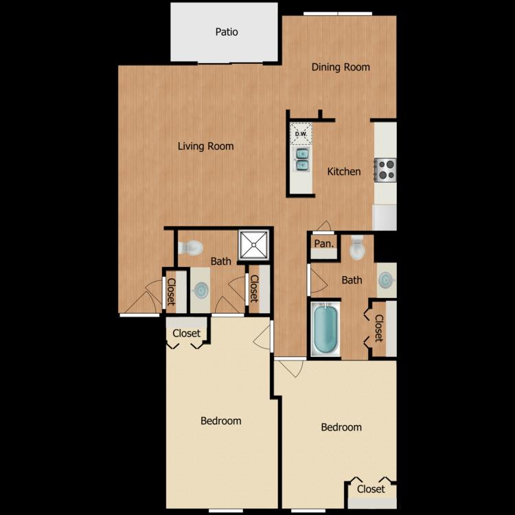 Floor plan image of 2 Bedroom 2nd Floor