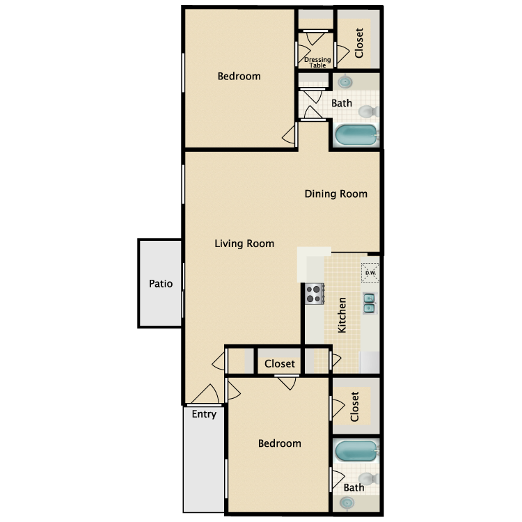 Floor plan image of 2 Bed 2 Bath E