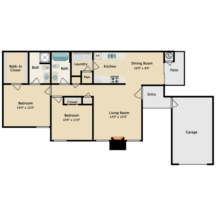Floor plan image of 2 Bed 2 Bath Downstairs