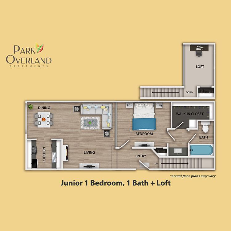 Floor plan image of Junior 1 Bedroom + Loft