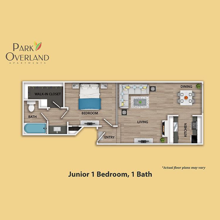 Floor plan image of Junior 1 Bedroom