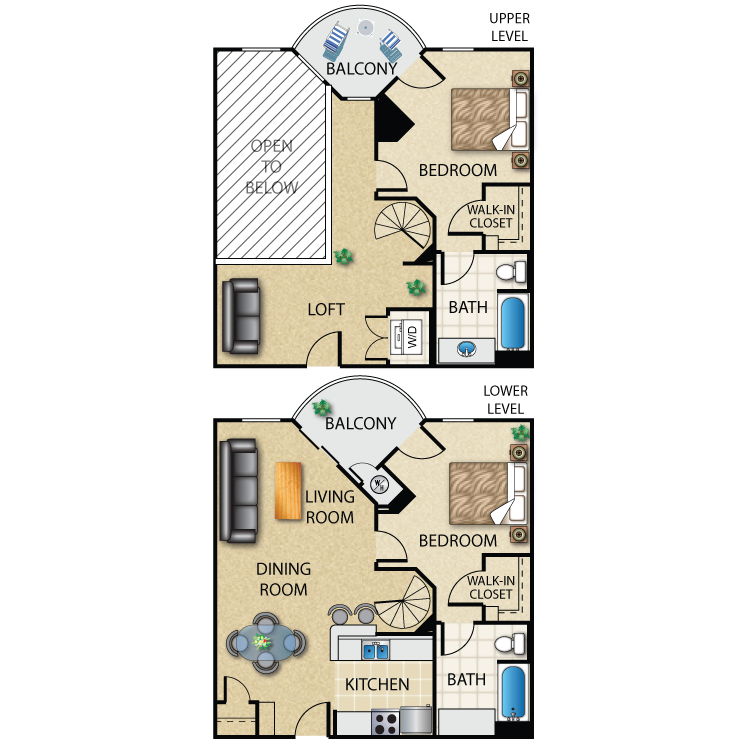 Floor plan image of 2 Bed 2 Bath Plus Loft 1218 Sq. Ft.