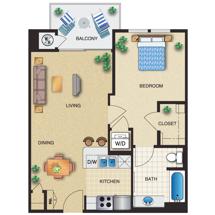 Floor plan image of 1 Bed 1 Bath 647 Sq. Ft.