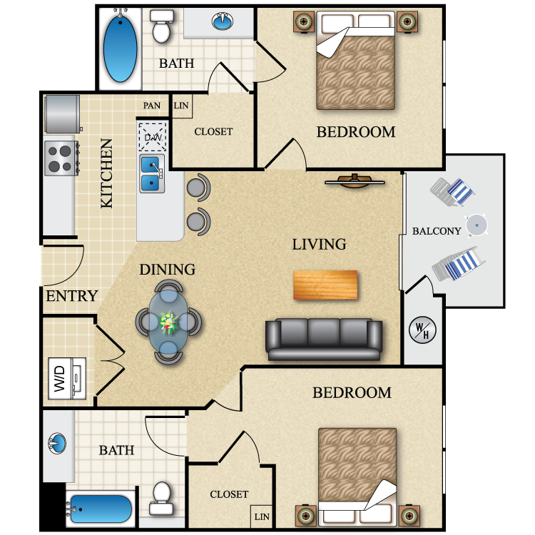 Floor plan image of 2 Bed 2 Bath 916 Sq. Ft. Dual Master