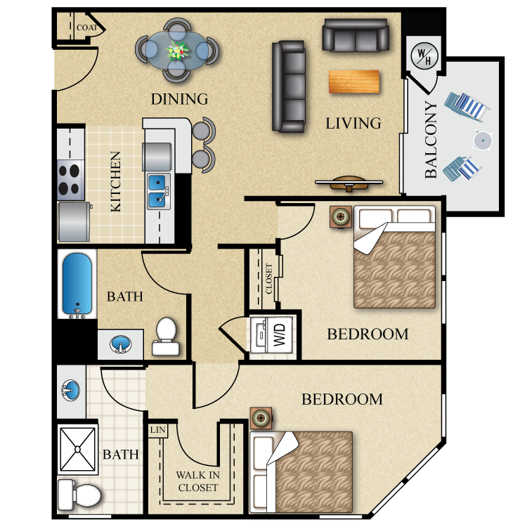 Floor plan image of 2 Bed 2 Bath 944-949 Sq. Ft.