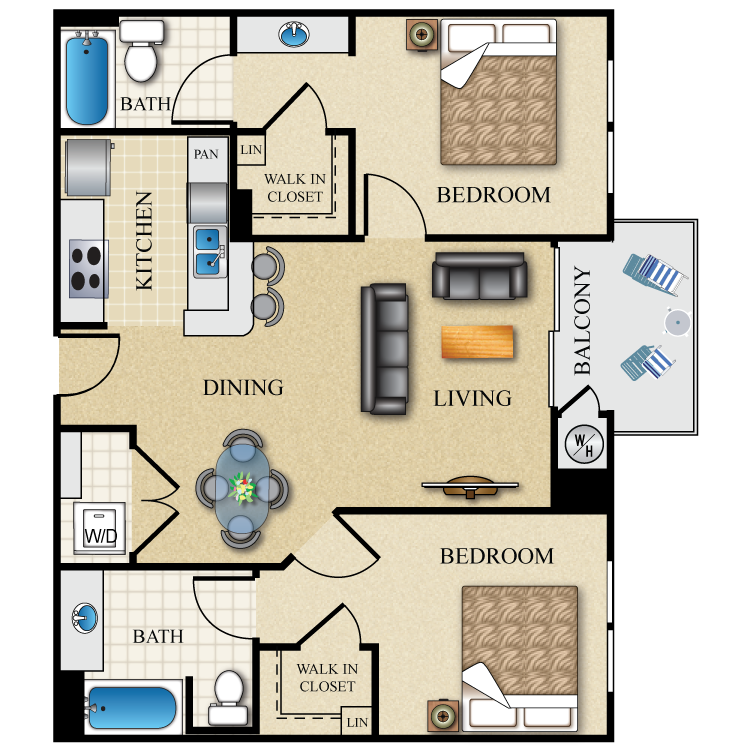 Floor plan image of 2 Bed 2 Bath Dual Master 984 Sq. Ft.