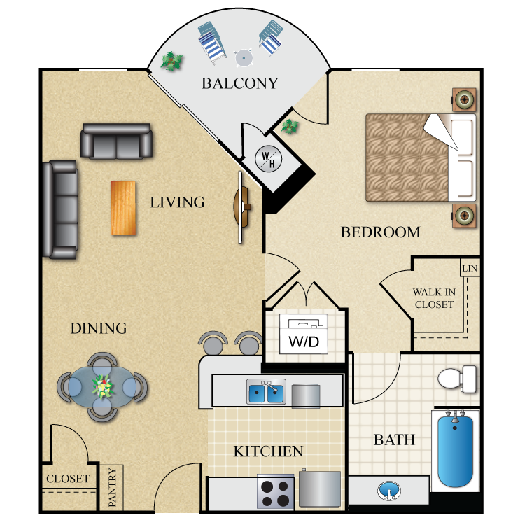 Floor plan image of 1 Bed 1 Bath 698 Sq. Ft.