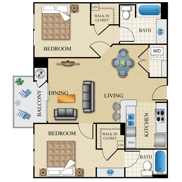 Floor plan image of 2 bed 2 bath Dual Master 946 Sq. Ft.