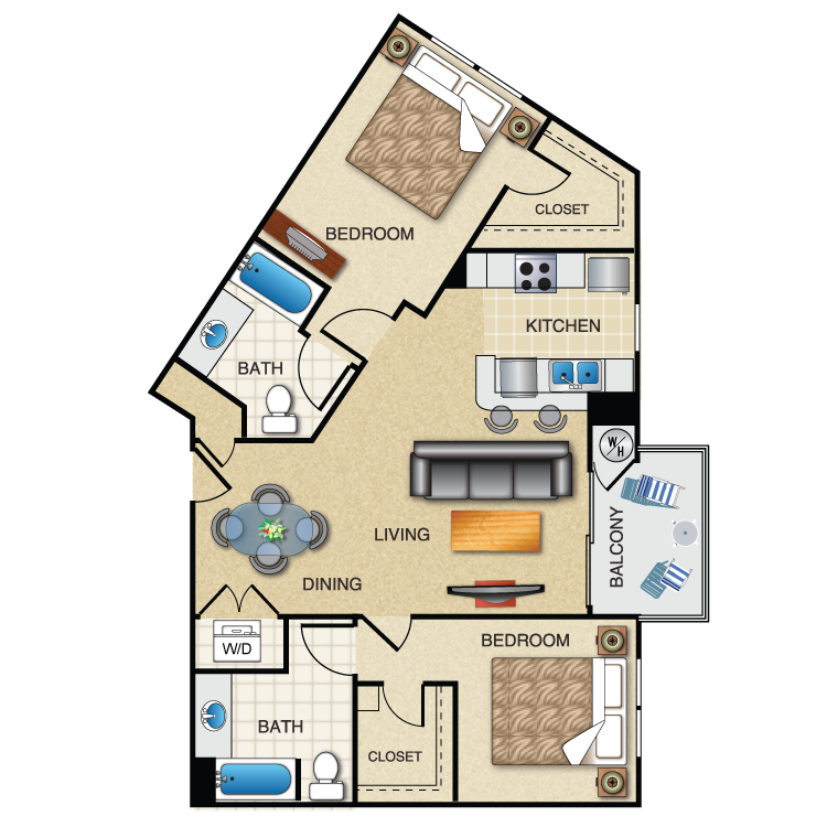 Floor plan image of 2 Bed 2 Bath Dual master 1137 Sq. Ft.