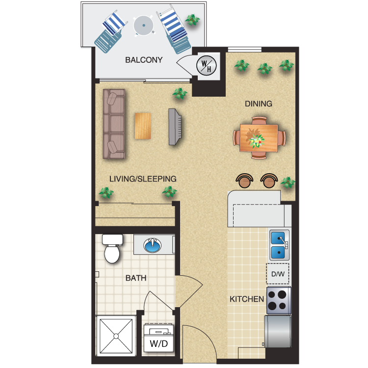 Floor plan image of Studio 1 Bath 479 Sq. Ft.
