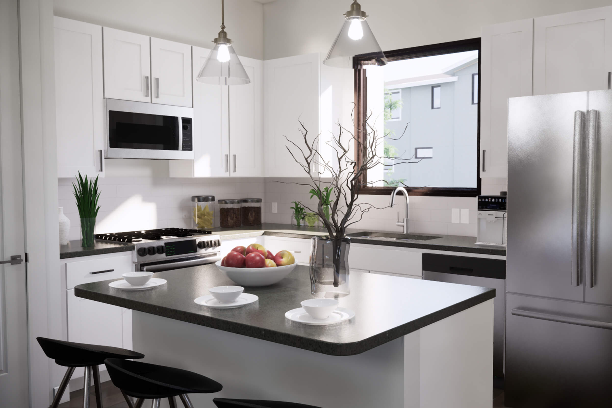 a kitchen with a sink and a dining table