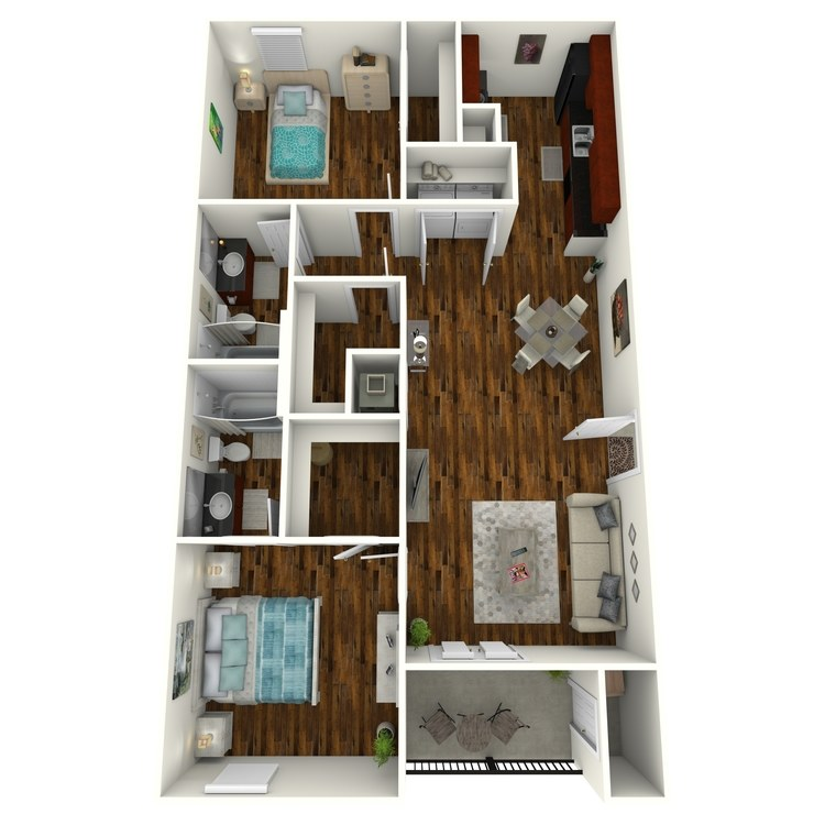Floor plan image of 2 Bed 2 Bath A