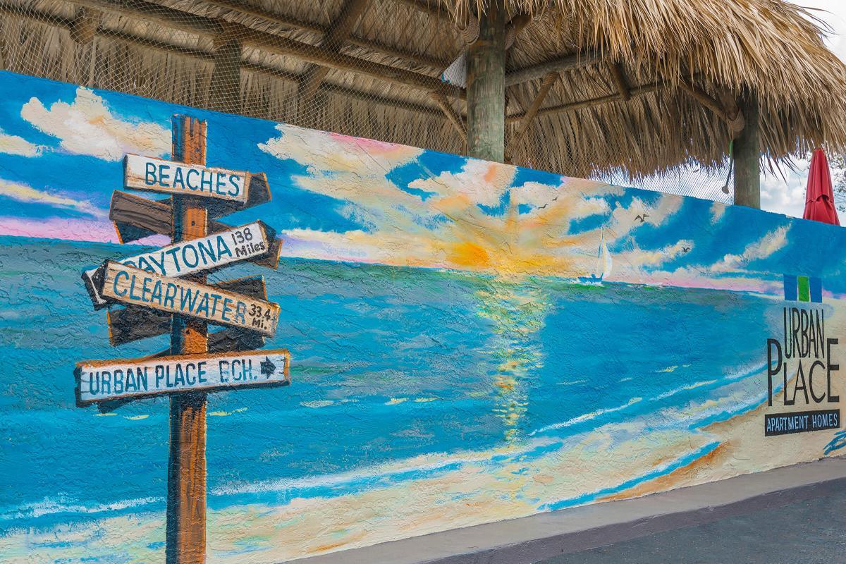 a sign on a beach