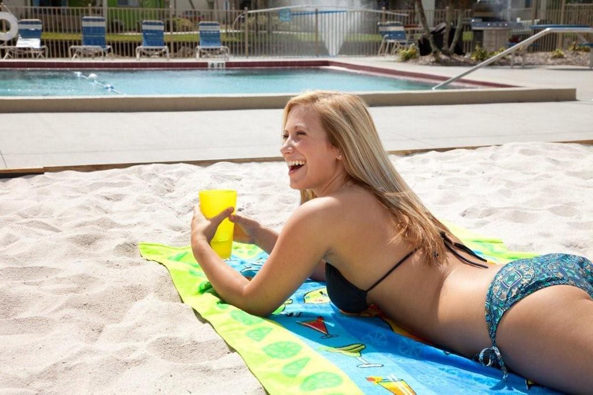 a girl in a pool