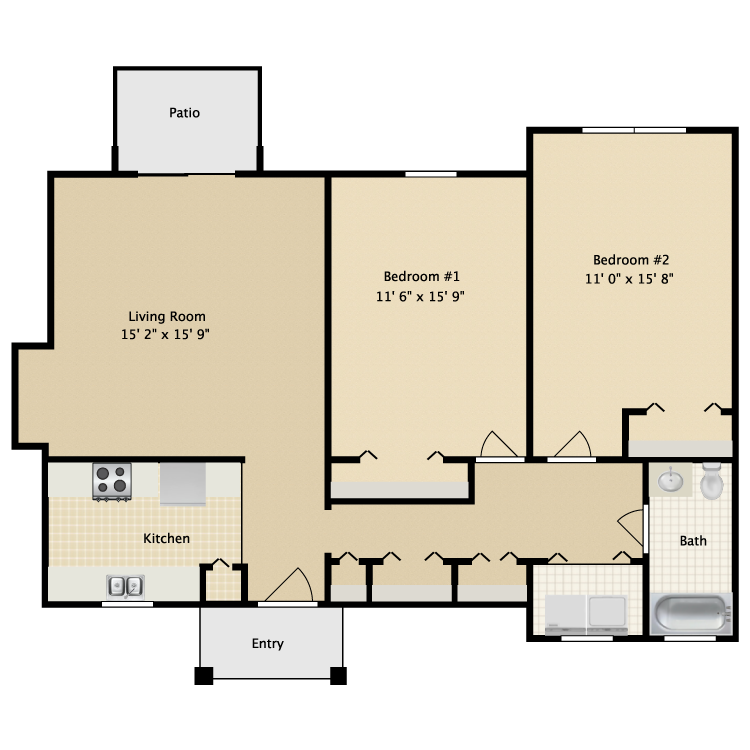 Floor plan image of Two Bedroom Flat