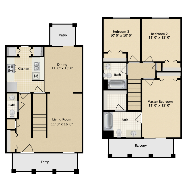 Floor plan image of Three Bedroom Townhome
