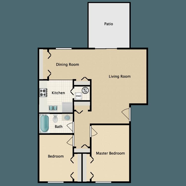 Floor plan image of 2 Bed Garden