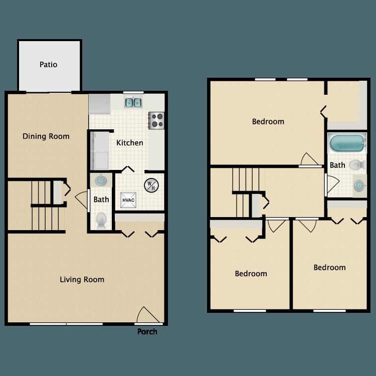 Floor plan image of 3 Bed Townhome