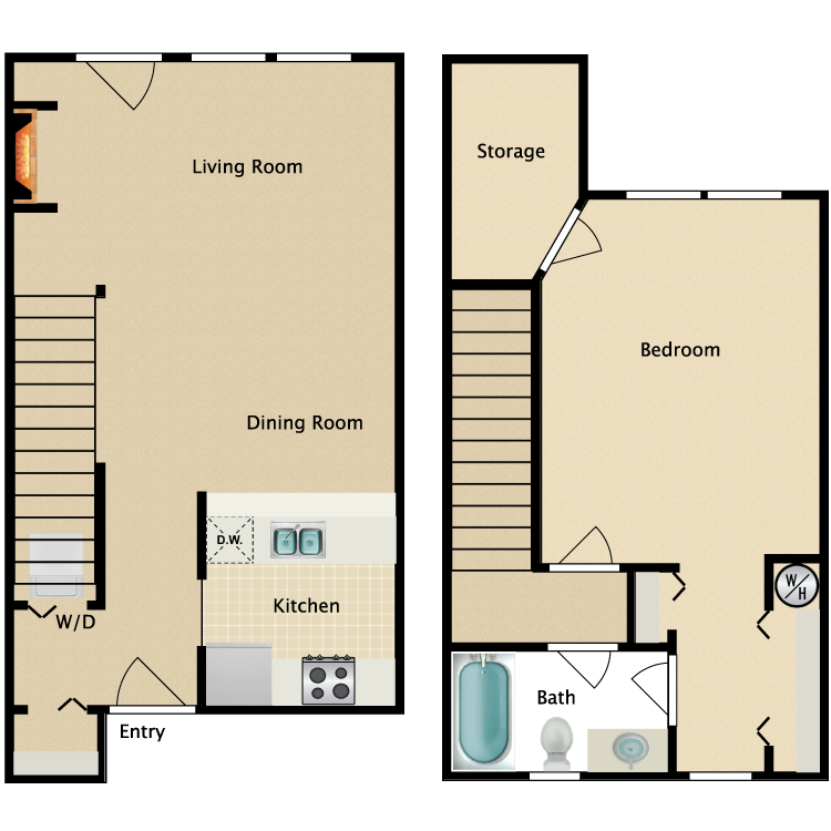 Floor plan image of 1 Bed Townhome