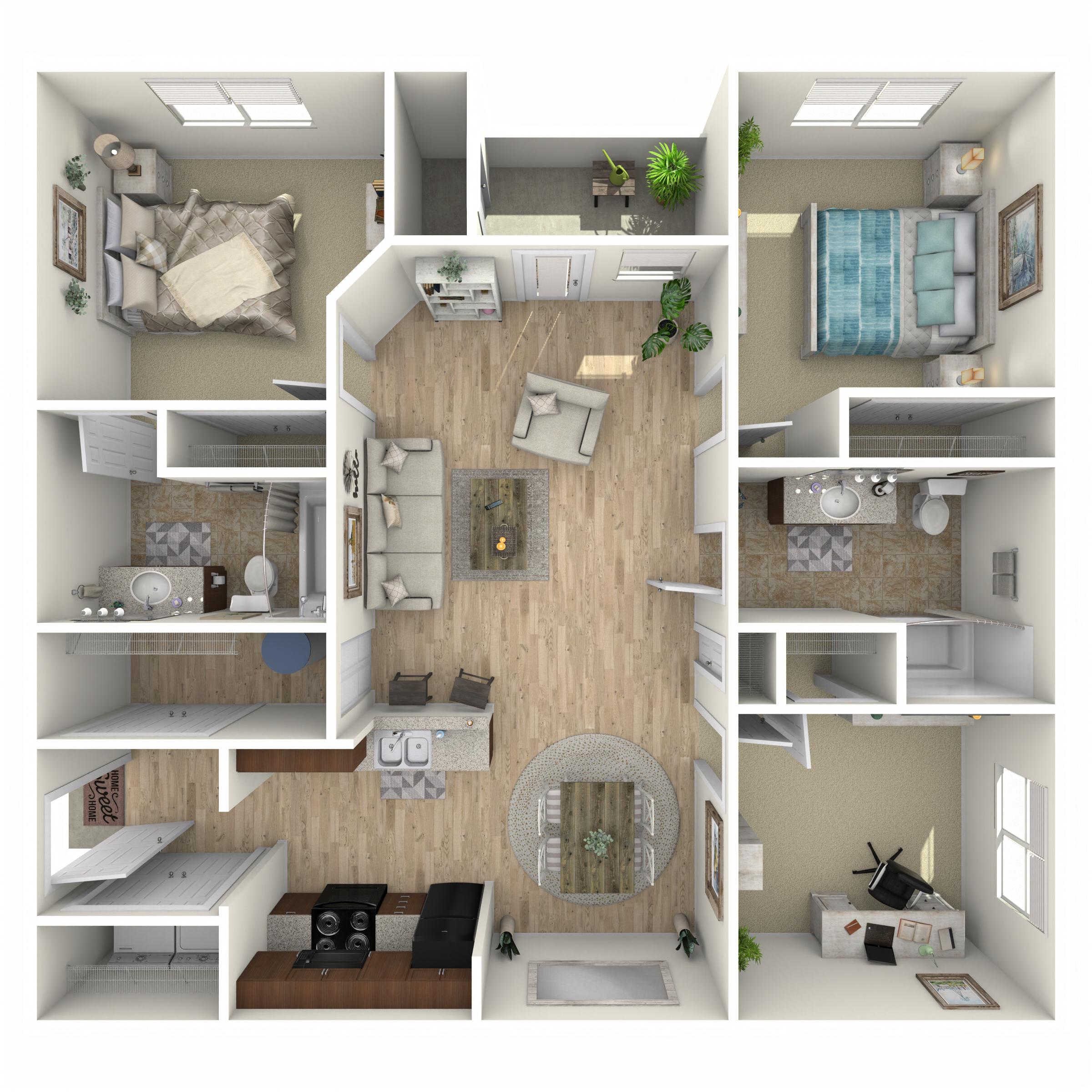 2 Bed 2 Bath C floor plan image