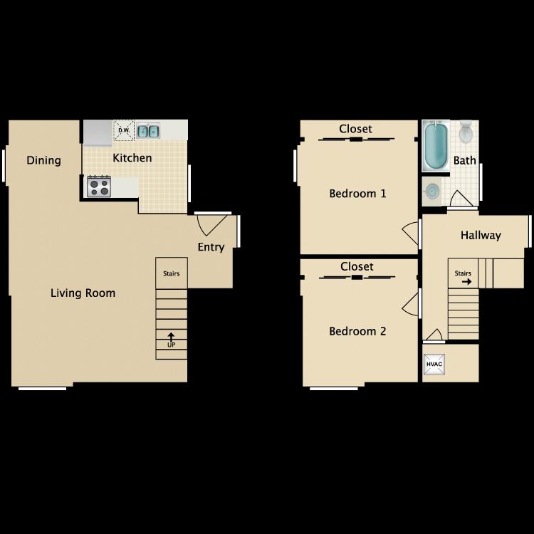 Floor plan image of 2 Bed Townhome