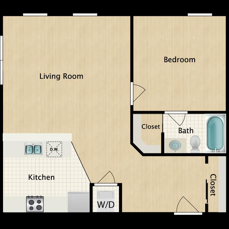 Floor plan image of 1 Bedroom I