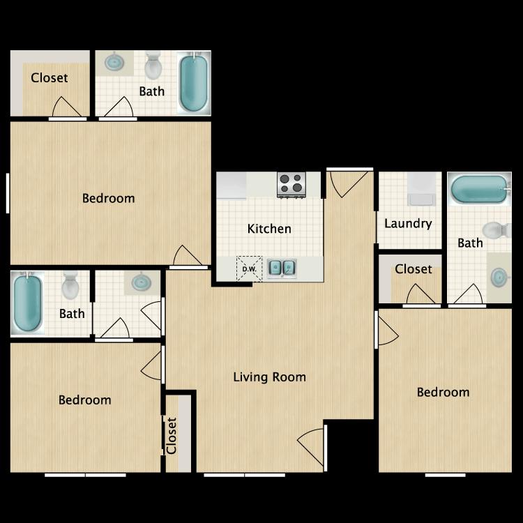 Floor plan image of 3 Bedroom D