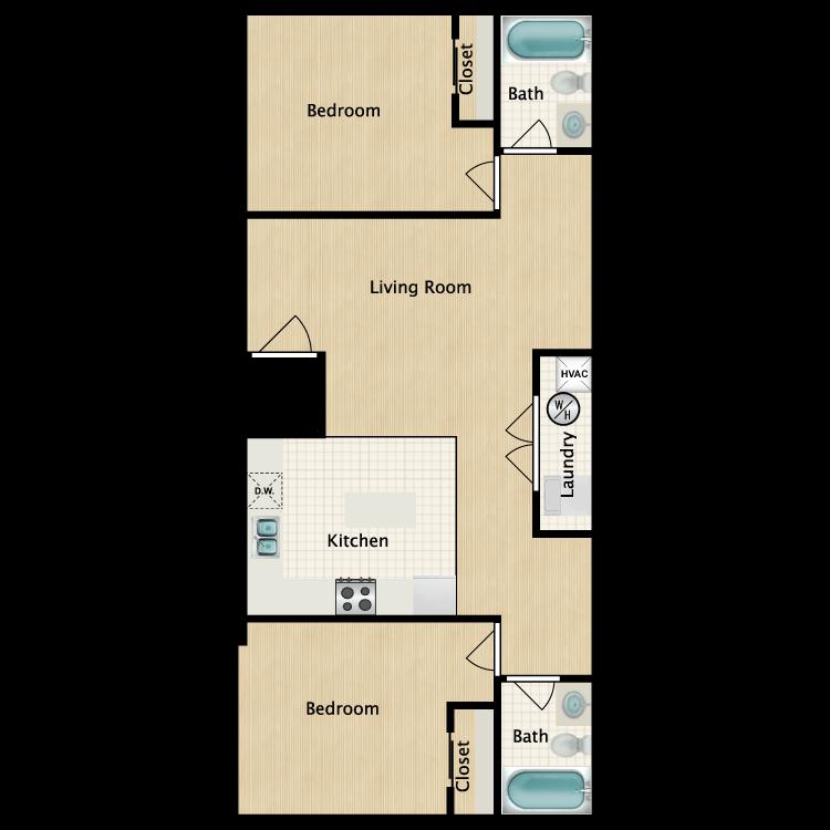 Floor plan image of 2 Bedroom E