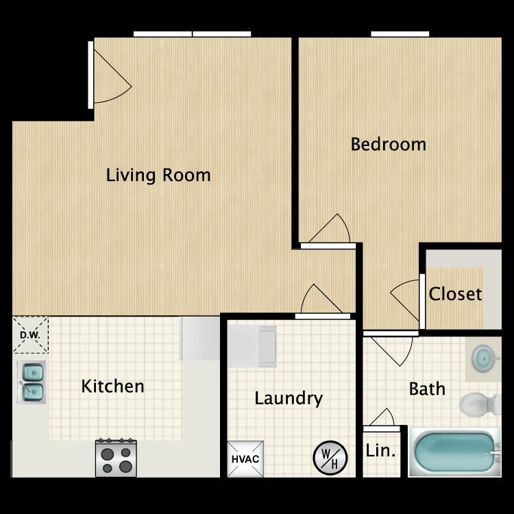 Floor plan image of 1 Bedroom F