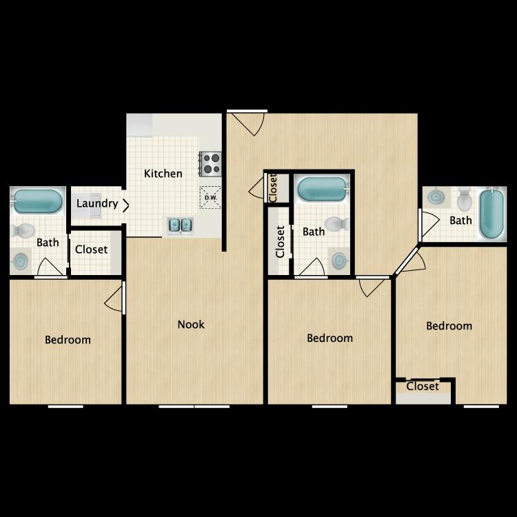 Floor plan image of 3 Bedroom K