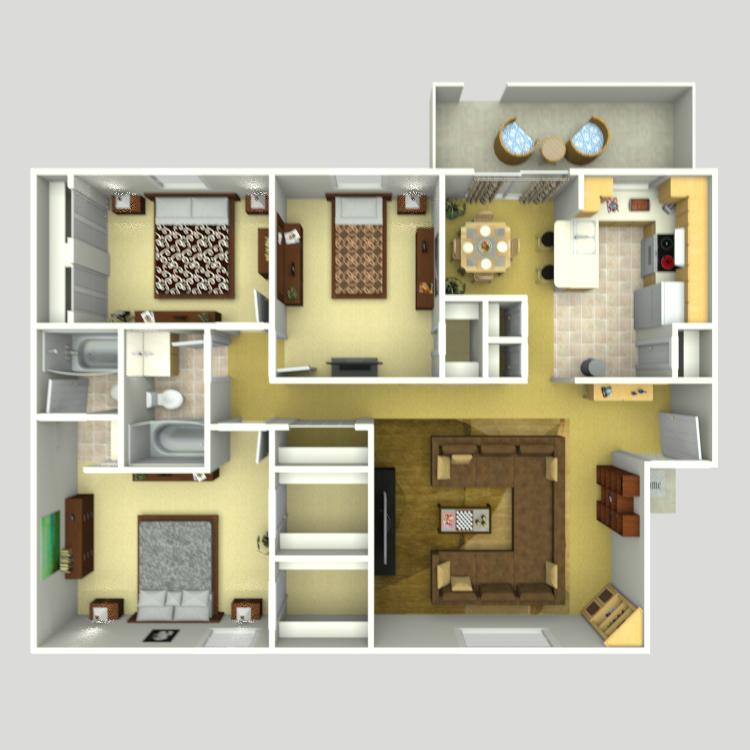 C2   3 Bedroom   2 5 Bathroom ThumbnailCasa Verde   Availability  Floor Plans   Pricing. Three Bedroom Apartments In Houston Tx. Home Design Ideas