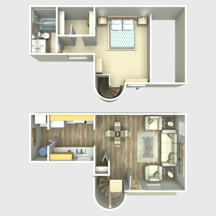Floor plan image of 1 Bedroom 1 Bath Loft