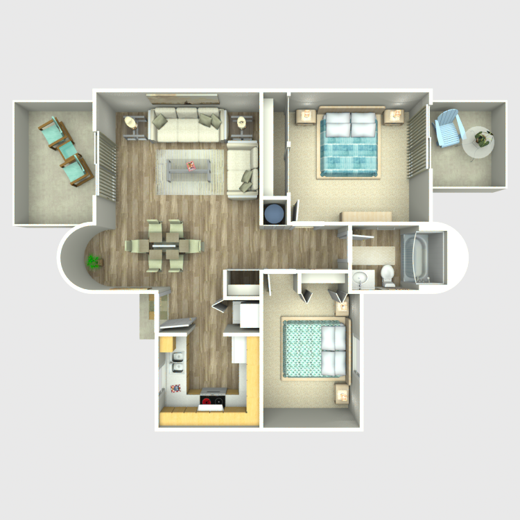 Floor plan image of 2 Bedroom 1 Bath Garden Level