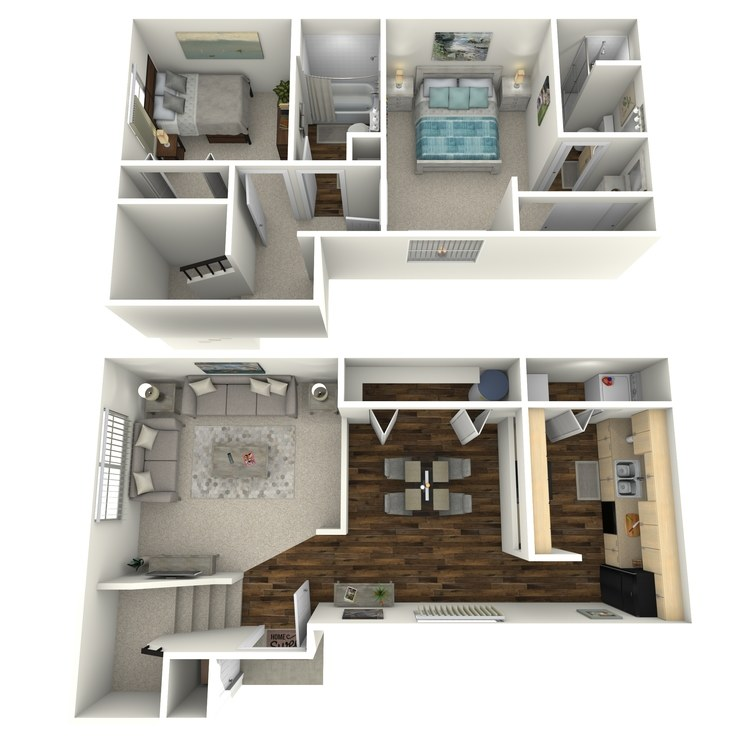 Floor plan image of 2 Bedroom 2 Bath Townhome