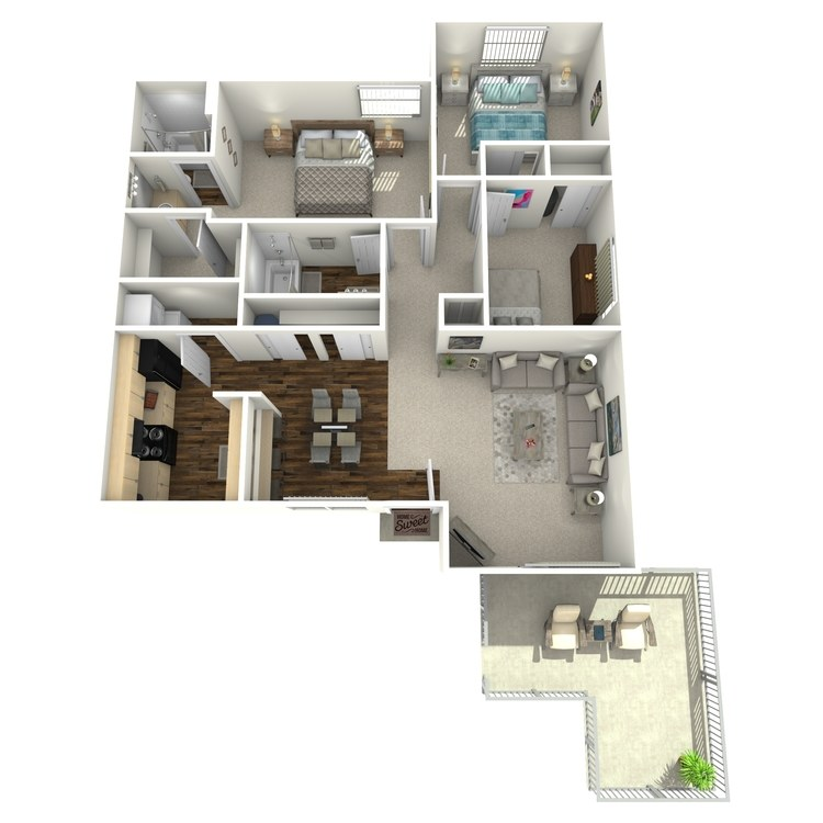 Floor plan image of 3 Bedroom 2 Bath Garden Level