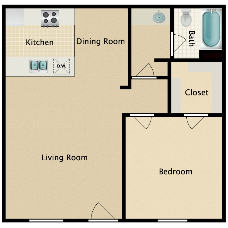 Floor plan image of One Bedroom Large