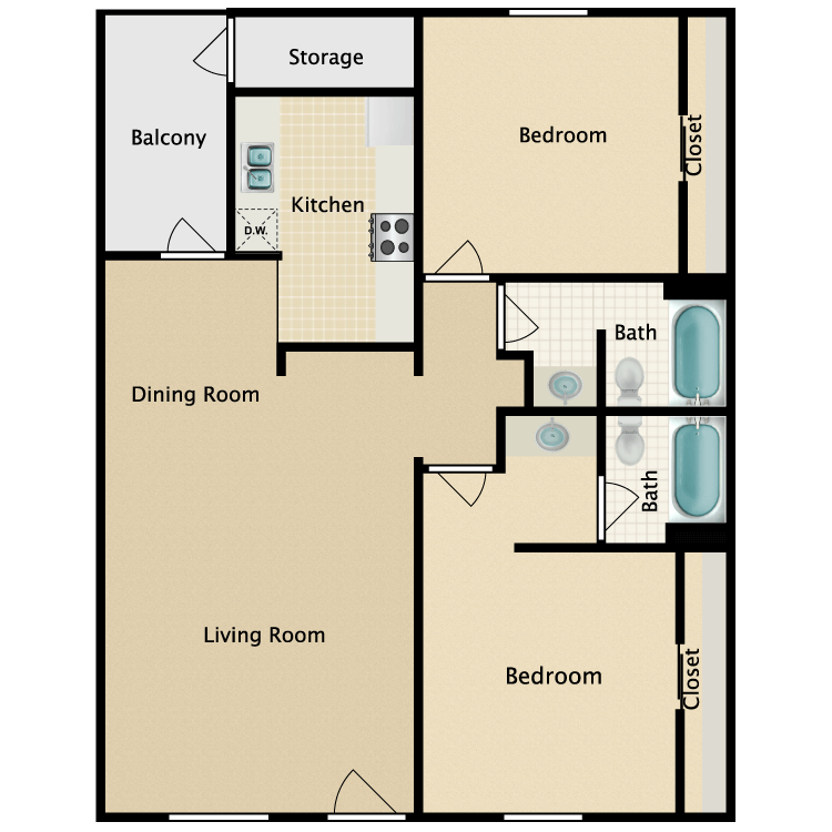 Floor plan image of Two Bedroom Two Bathroom