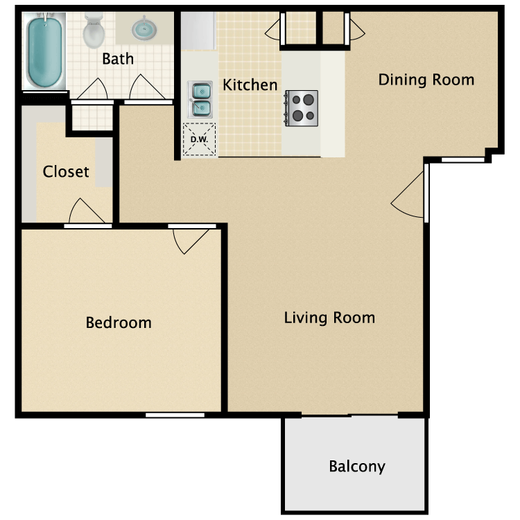 Floor plan image of One Bedroom Small
