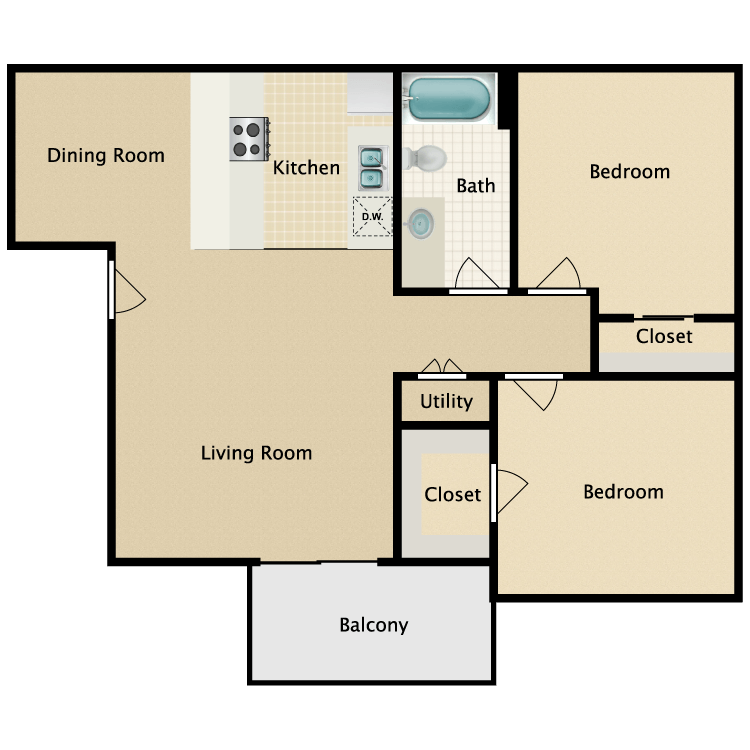 Floor plan image of Two Bedroom One Bathroom