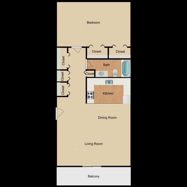 Floor plan image of 1 x 1