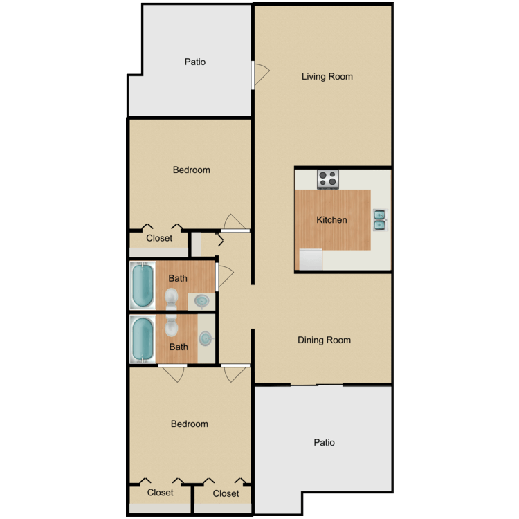 Floor plan image of 2 x 2 large