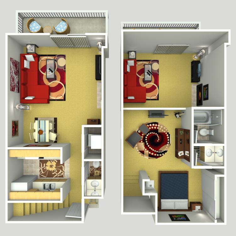 Floor plan image of 1 Bed 1.5 Bath Townhome